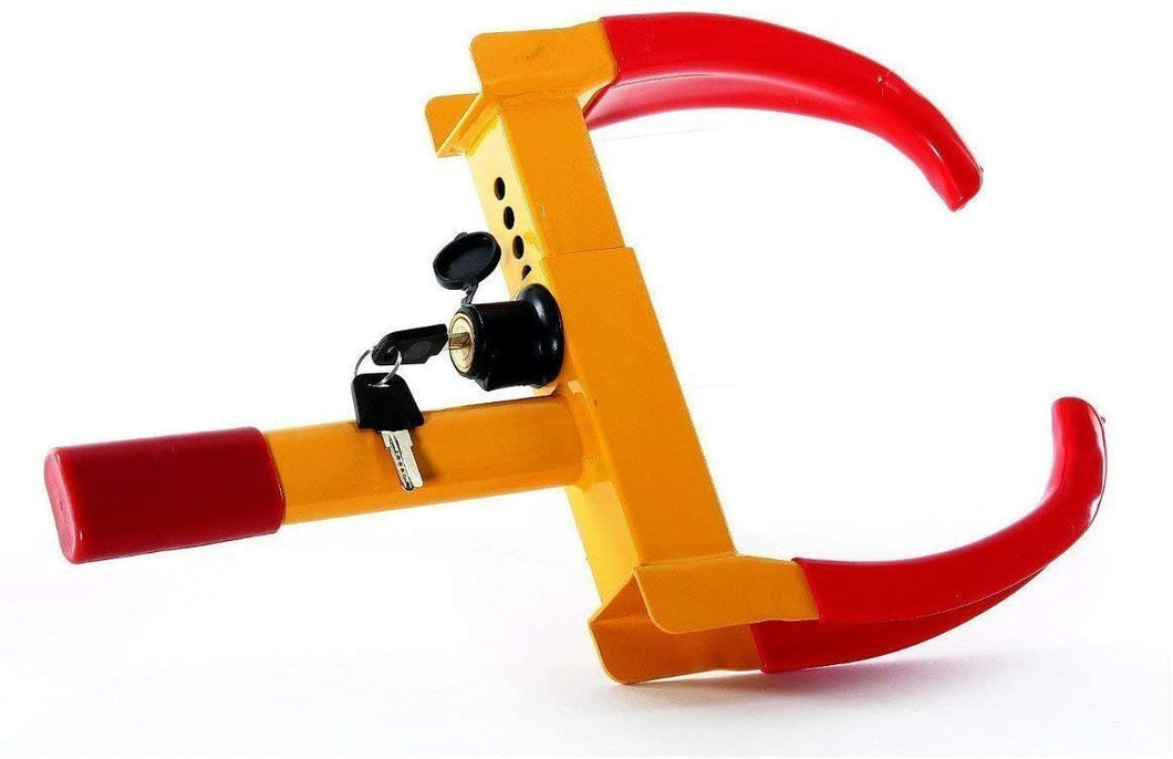 Anti-Theft Wheel Clamp Lock Device | Heavy Duty Car Truck RV ATV Tyre Lock Safety Security Gadget