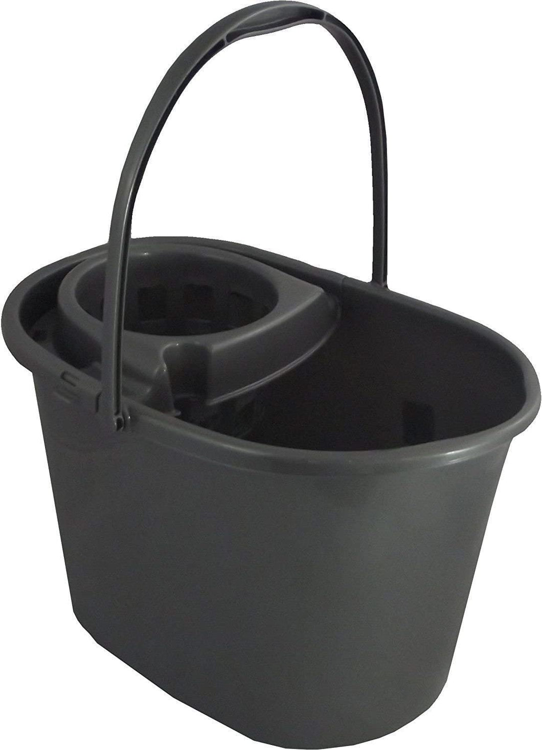 White Furze Plastic Floor Mop Bucket with Wringer, Silver