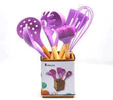 8 Piece Silicone Cooking Utensils Cutlery Set with Bamboo Wood Handles / Wooden Utensil Holder Included / purple Kitchen