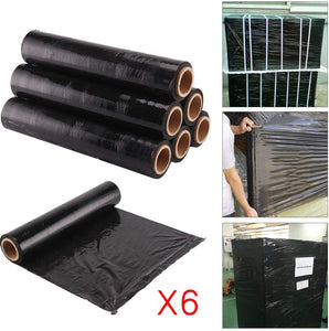 6 rolls of Shrink Pallet Stretch wrap Cling 400mm wide Black Colour 17mu Pallet Wrap