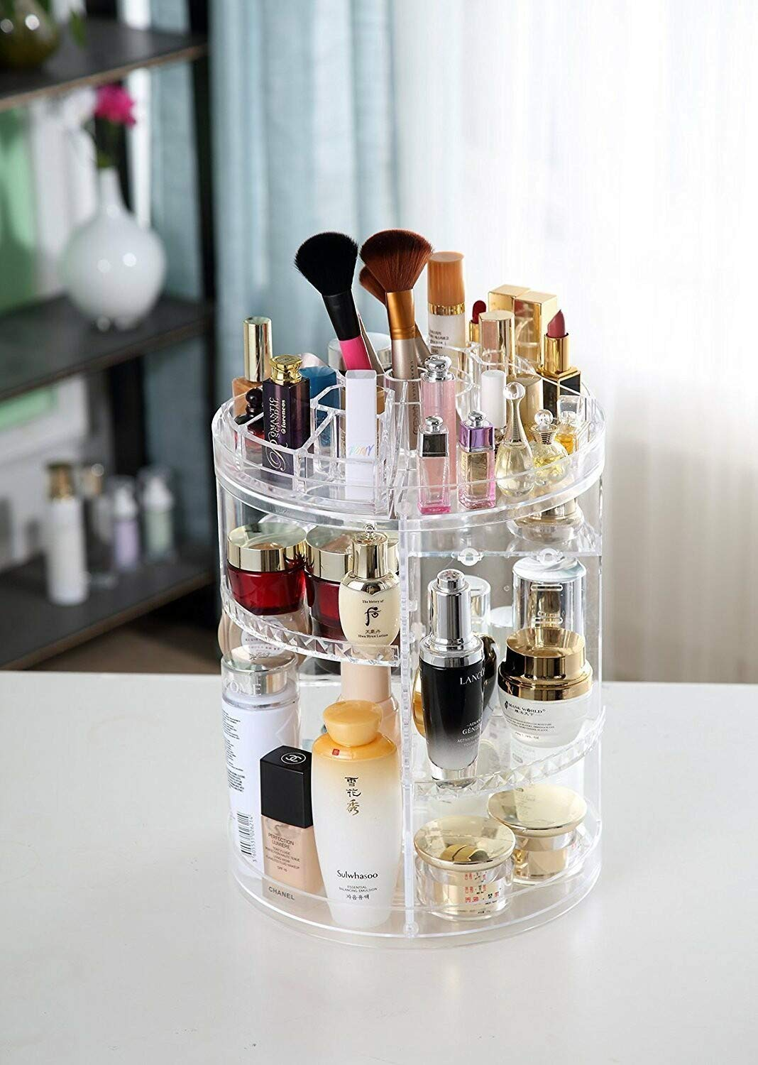 DIY Rotating Multilayer Cosmetic Organizer