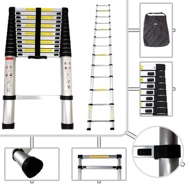 3.8M (12.5FT) I-Type (Straight) Telescopic Extendable Extension Ladder EN131 MAX Load 150KG Ladder