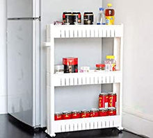 3 Tier Storage Trolleys, Slim Slide Out, Detachable Shelf with Wheels Storage Caddy