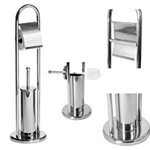 Toilet Brush and Paper Holder Bathroom Stand, Stainless Steel