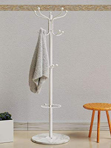 Free Standing Coat Stand With Rotating Hooks for Hanging Clothes & Accessories/Marble Base/Umbrella Holder (White) Coat Stand