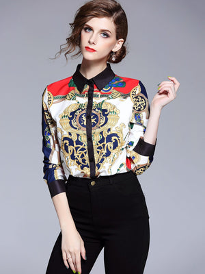 Graphic Print Button Front Blouse