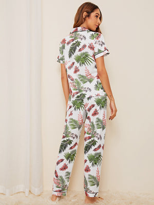 Tropical Print Button-up PJ Set