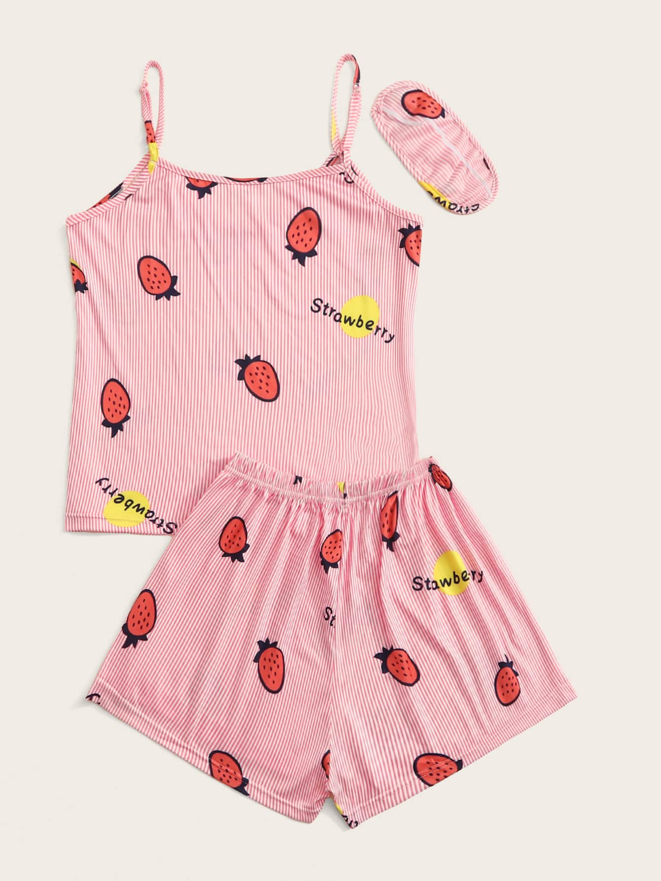 Strawberry Print Cami PJ Set With Eye Mask