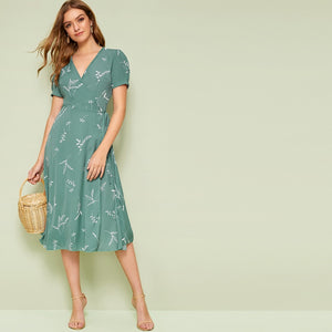 Plant Print Wrap Knotted Dress