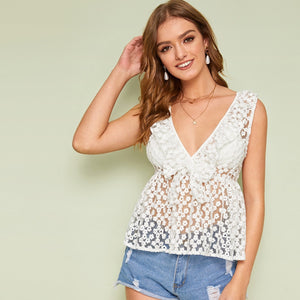 Embroidered Mesh Tie Front Sheer Top