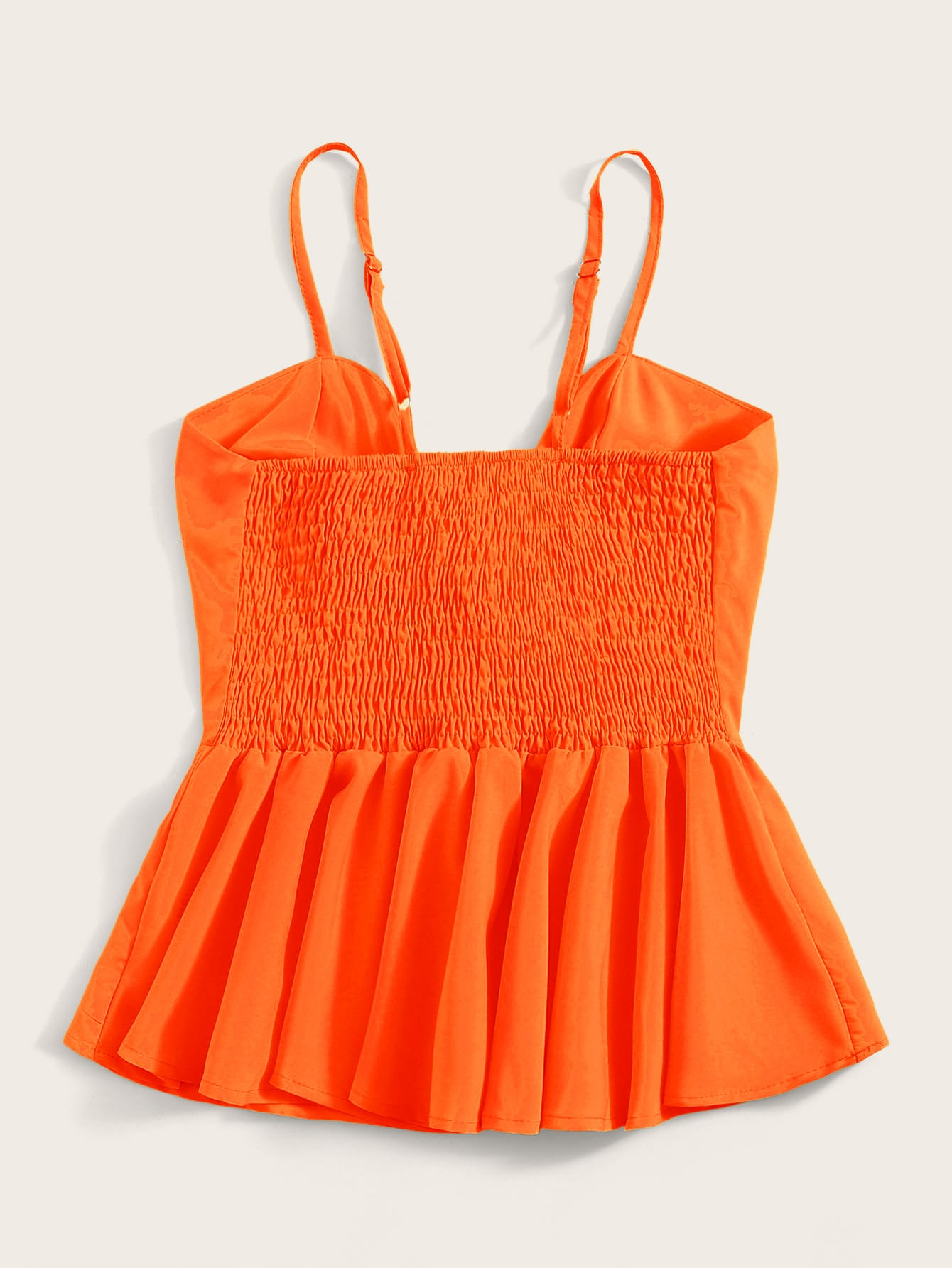 Tie Front Shirred Peplum Cami Top