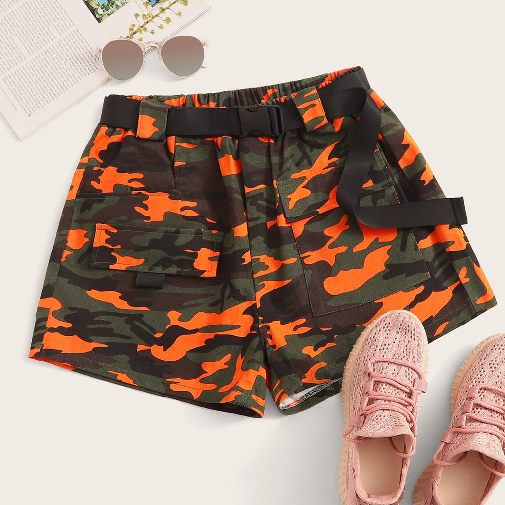 Camo Flap Pockets Buckle Belted Cargo Shorts
