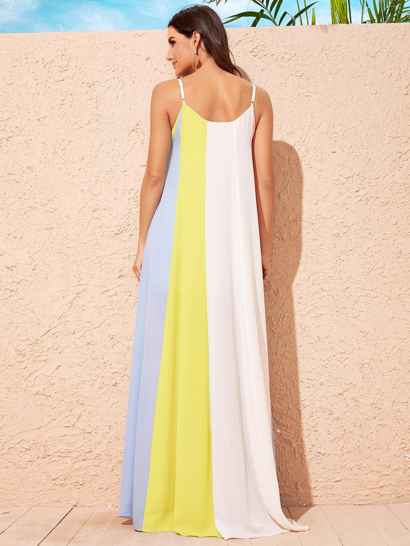 Cut And Sew Chiffon Maxi Cami Dress