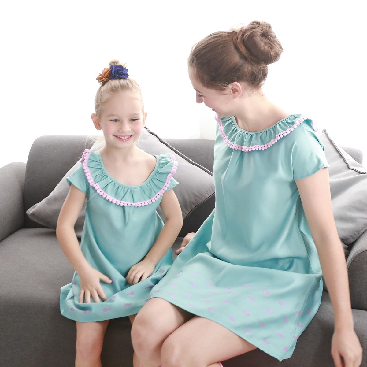 Mother & Daughter Matching Dress : Whale printed