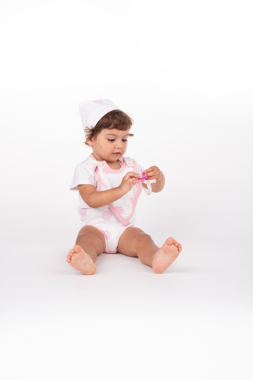 Smart Short Sleeve Bodysuit + Bib - Pink Rose