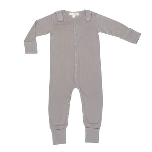Smart Footed One-Piece + Bib - Gray