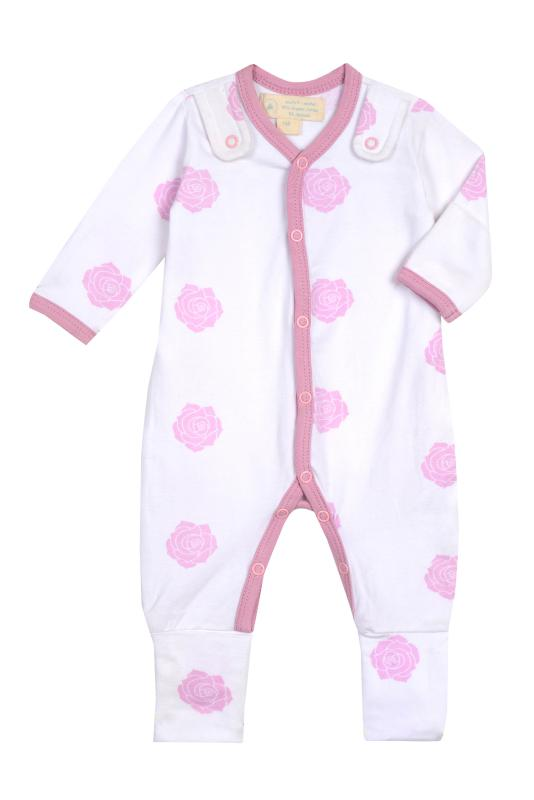 Smart Footed One-Piece + Bib - Pink Rose