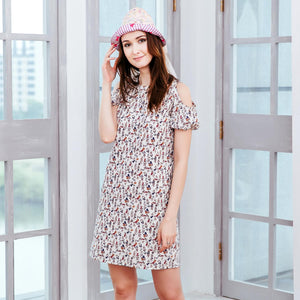 (Woman) Floral cold-shoulder dress