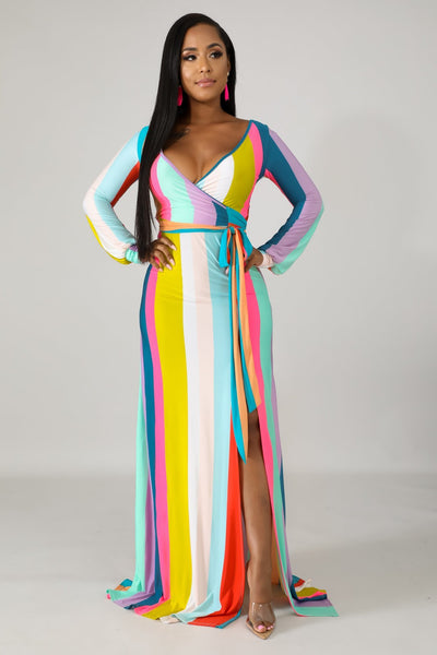 Wrap Stripe Maxi Dress - Slay Brand llc