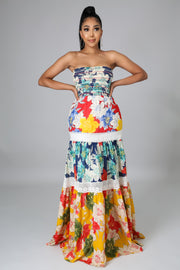 Accordion tube floral dress