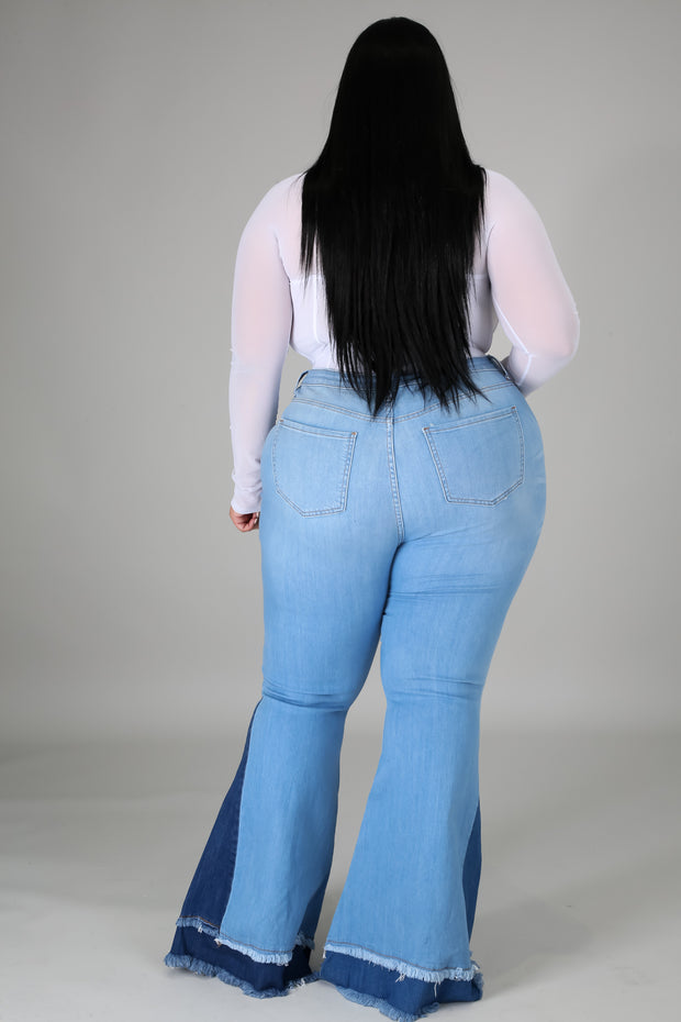 Curve High waist patch work jeans