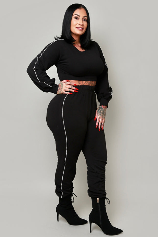 Stay glam rhinestone jogger set