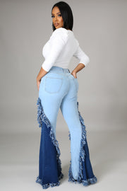 Two tone flare jeans