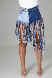 Just having fun fringe shorts
