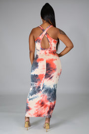 Coral Splash Maxi Dress