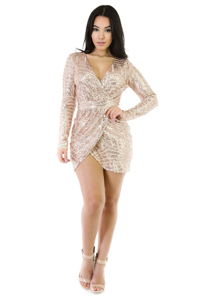 V neck Sequins Dress - Slay Brand llc