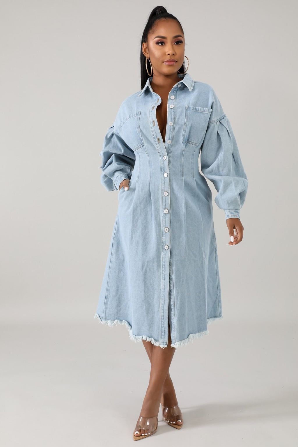 Clinched denim dress