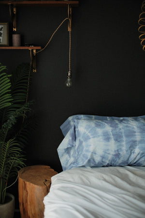 Indigo dyed pillow cases set