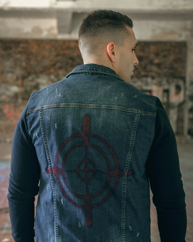 Cartello denim jacket sprayed
