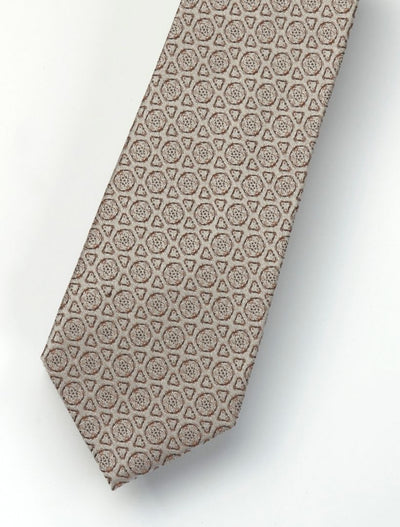 Men's Beige & Brown Patterned 100% Silk Tie