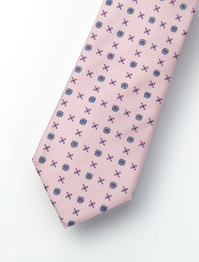 Men's Pink Flutter & Powder Blue Patterned 100% Silk Tie
