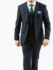 Men's Navy Plaid Vested Wool Slim Fit Suit by FUBU