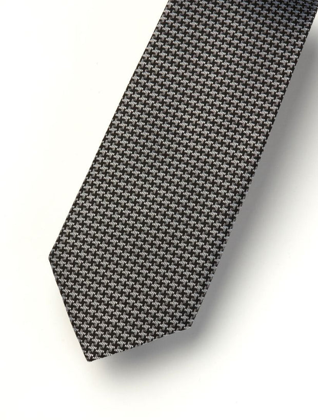 Men's Onyx Black & Granite Grey Patterned 100% Silk Tie