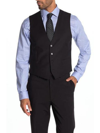 Black Men's Slim Fit Stretch Suit Separates Vest - Front
