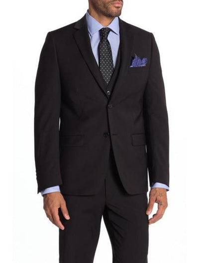 Black Men's Slim Fit Stretch Suit Separates Jacket - Front