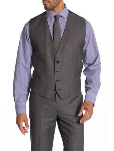 Grey Men's Slim Fit Stretch Suit Separates Vest - Front