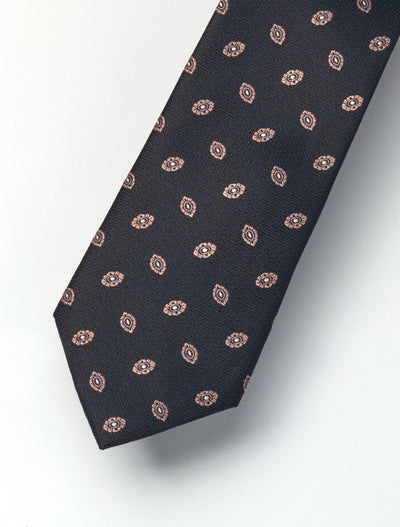 Men's Muted Black & Peach Patterned 100% Silk Tie