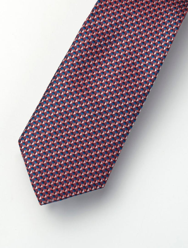 Men's Ruby Red & Royal Blue Checkered 100% Silk Tie