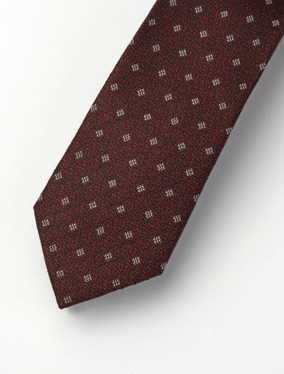 Men's Burgundy & White Patterned 100% Silk Tie