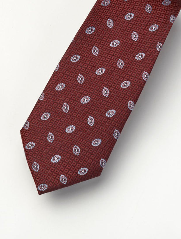 Men's Cherry Red & Lavender Patterned 100% Silk Tie