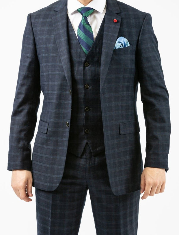 Men's Navy Plaid Vested Slim Fit Suit by FUBU - Front Close Up