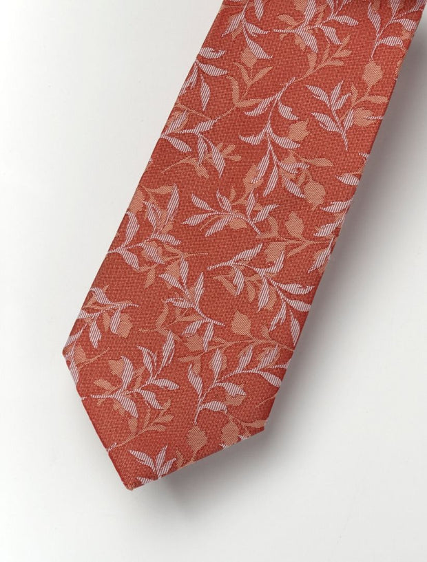 Men's Papaya Orange Leafs Patterned 100% Silk Tie