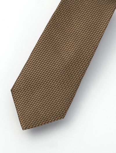 Men's Waved Tortilla Brown 100% Silk Tie