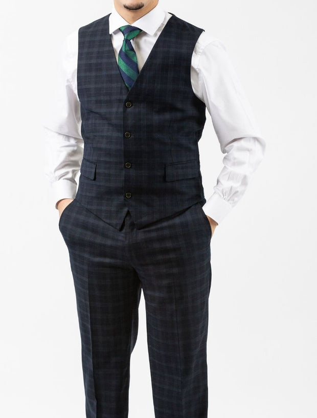 Men's Navy Plaid Vested Slim Fit Suit by FUBU - Model Wearing Vest