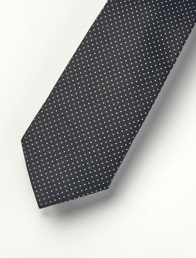 Men's Midnight Black with White Polka Dots 100% Silk Tie