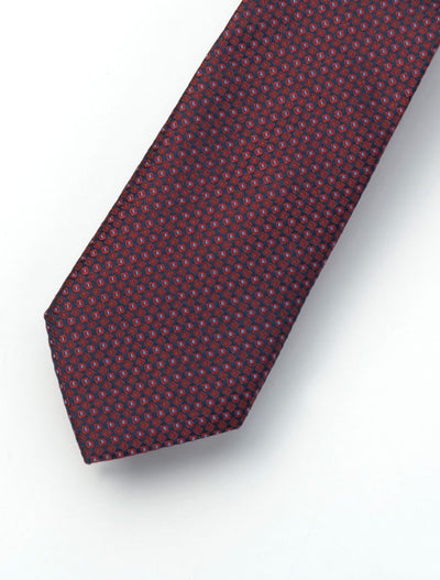 Men's Crimson Red & Pink Patterned 100% Silk Tie
